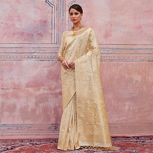 Glorious Cream Colored Festive Wear Silk Saree