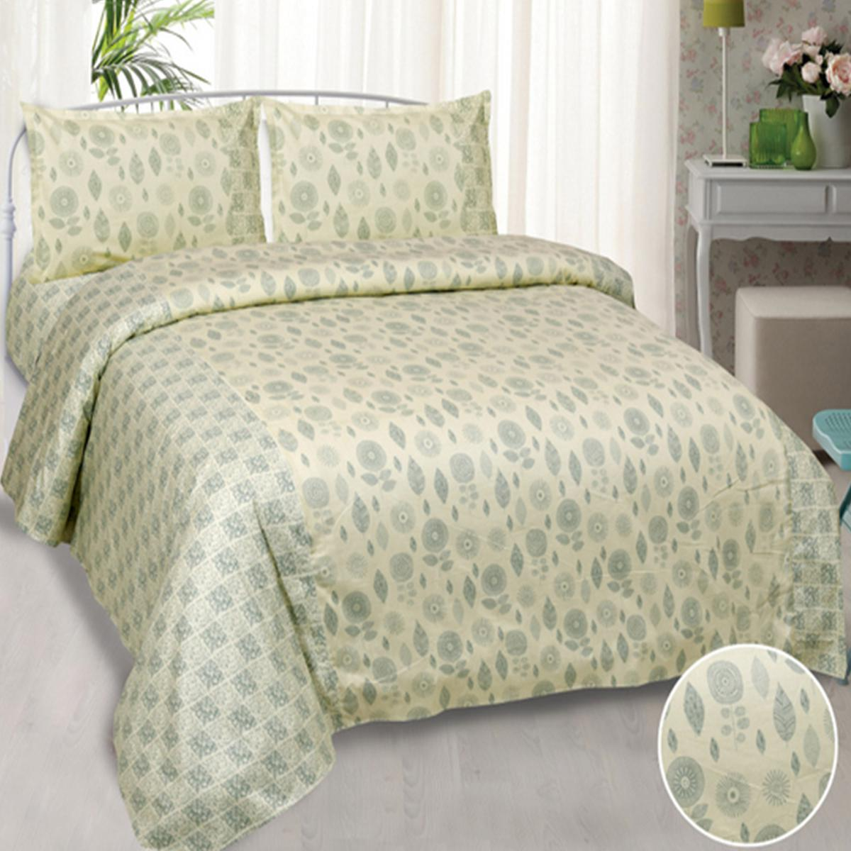 Jaipur Fabric Sensational Pastel Grey Pure Cotton King Size Double Bedsheet with 2 Pillow Cover