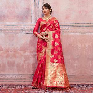 Beautiful Red Colored Festive Wear Silk Saree