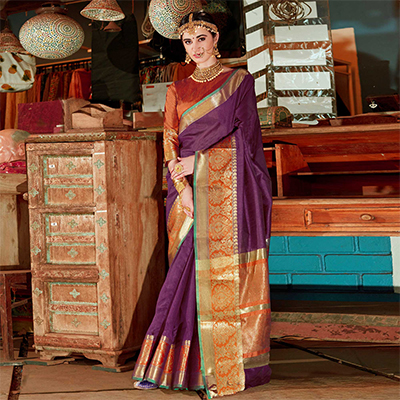 Sensational Purple Colored Festive Wear Silk Woven Saree