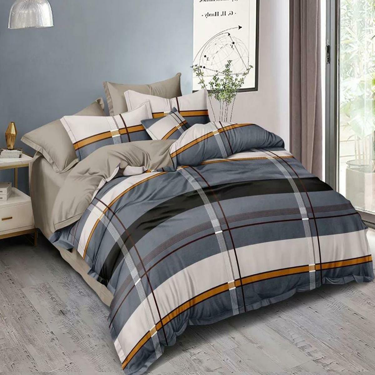 Glorious Grey Colored Printed Double Bedsheet With Pillow Cover