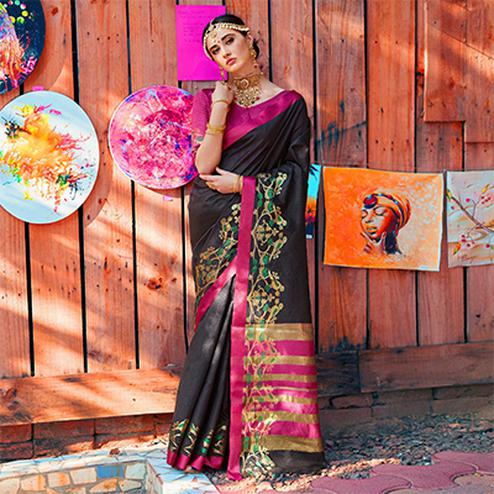 Bold Black Colored Festive Wear Silk Woven Saree