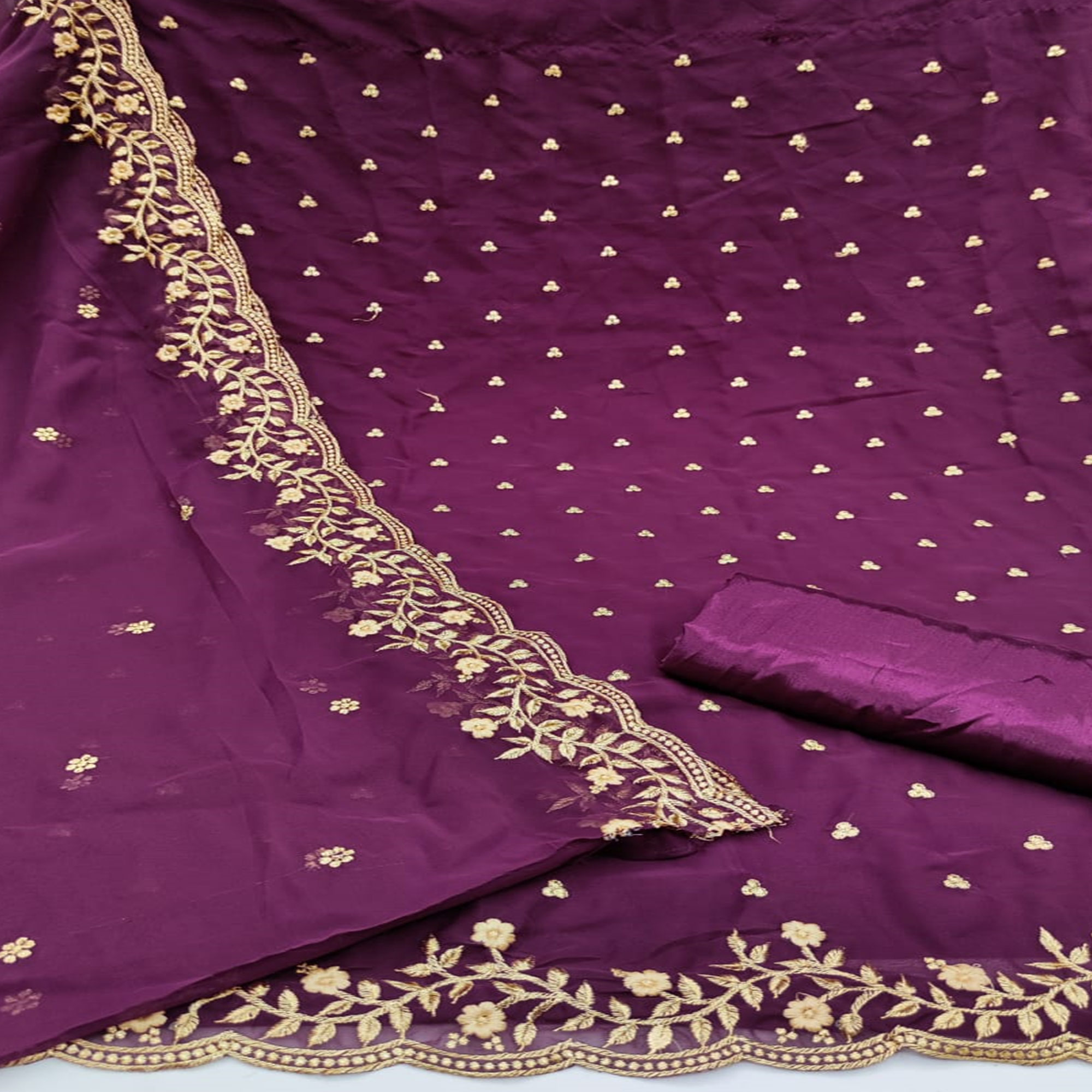 Sensational Wine Colored Partywear Embroidered Georgette Dress Material