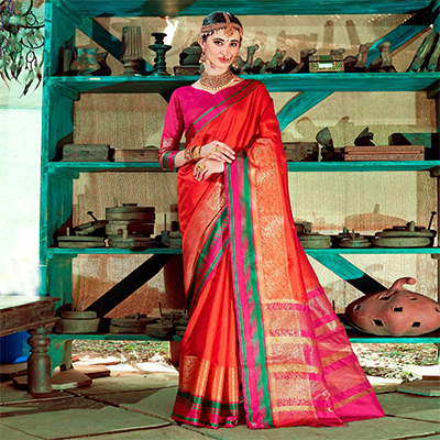 Stylish Red Colored Festive Wear Silk Woven Saree