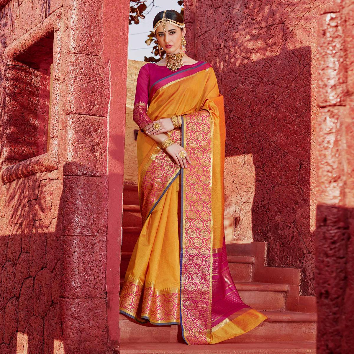 Traditional Yellow Colored Festive Wear Silk Woven Saree
