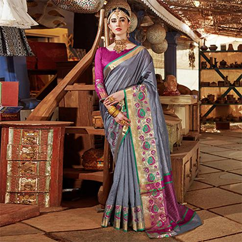 Trendy Grey Colored Festive Wear Silk Woven Saree