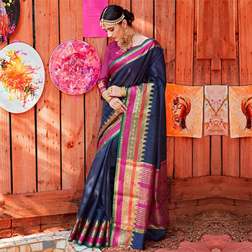 Attractive Navy blue Colored Festive Wear Silk Woven Saree