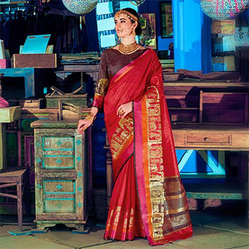 Lipstick Red Colored Festive Wear Silk Woven Saree