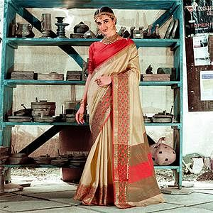 Modern Beige Colored Festive Wear Silk Woven Saree