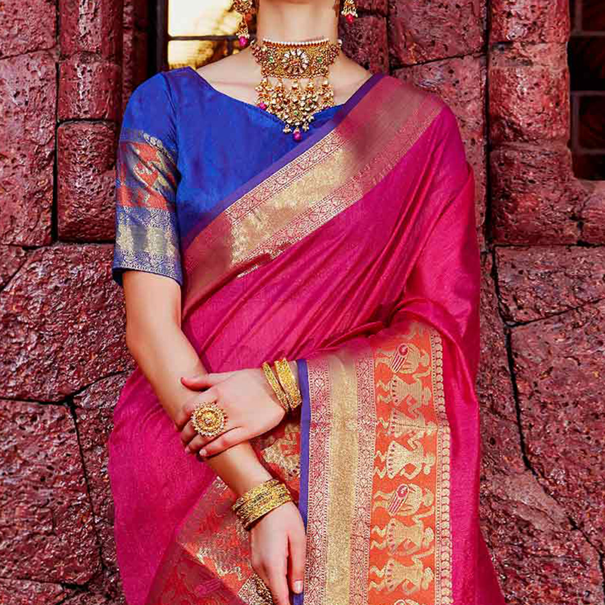Mesmerising Rani Pink Colored Festive Wear Silk Woven Saree