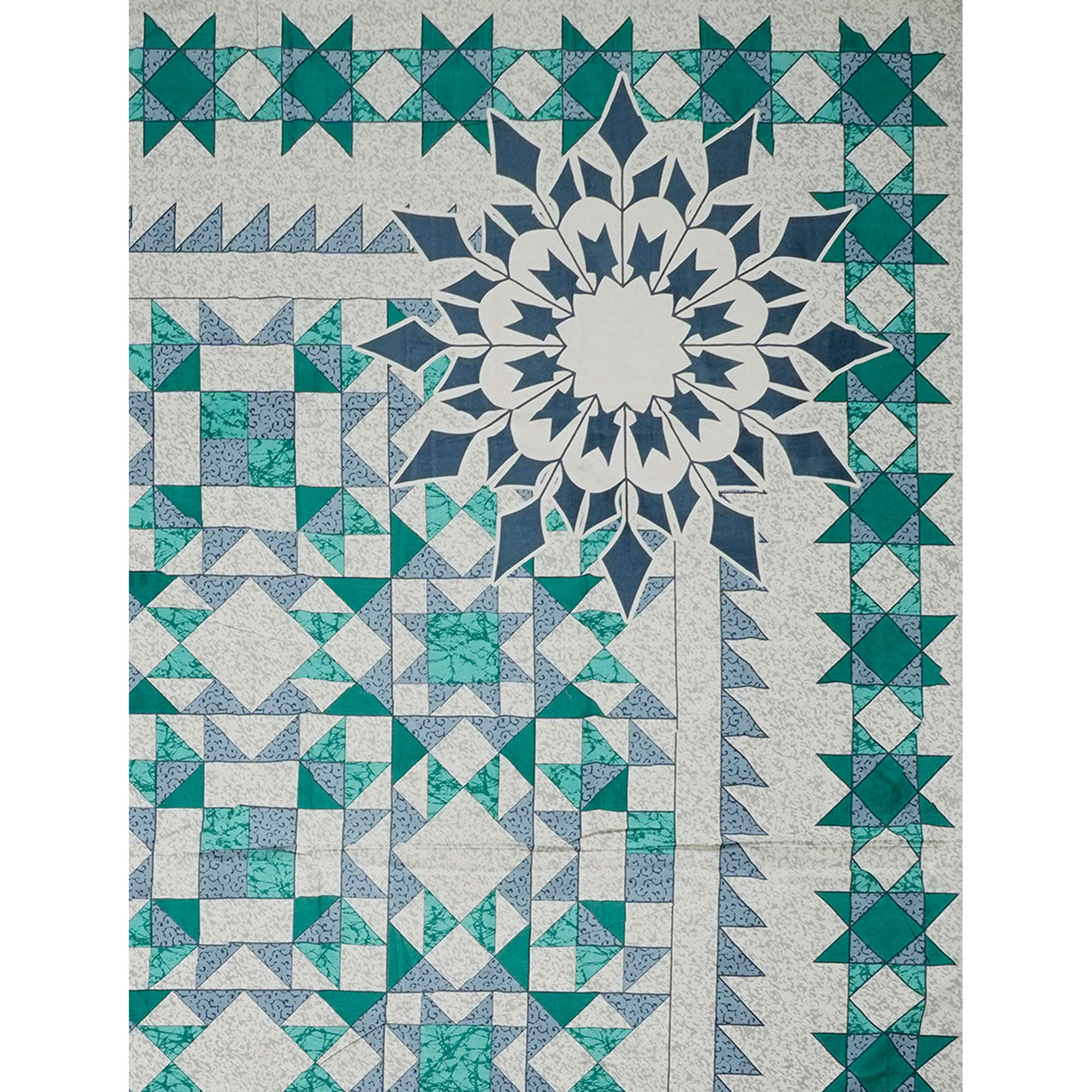 eCraftIndia - 180 TC Pure Cotton Premium Double Bed King Size Geometric Design Bedsheet (100 In x 108 In) with 2 pillow cover - Blue