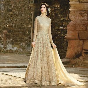 Beautiful Beige Designer Embroidered Net Gown