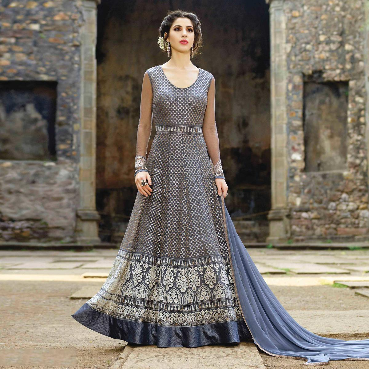 Graceful Grey Designer Embroidered Net Gown