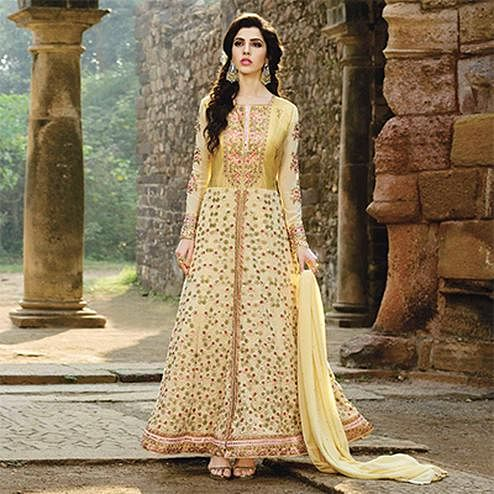 Adorable Yellow Designer Embroidered Georgette Anarkali