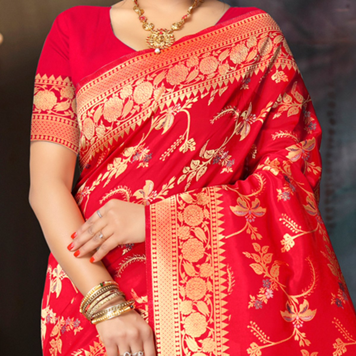 Indian Women Red Colored Poly Silk Jacquard Woven Work Heavy Work Saree