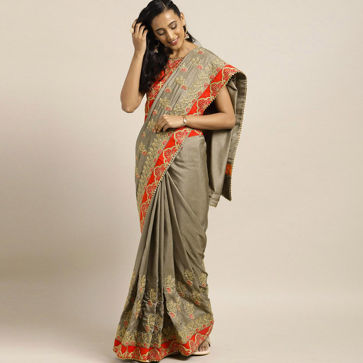 Indian Women Grey Colored Poly Silk Heavy Embroidered Work Designer Saree