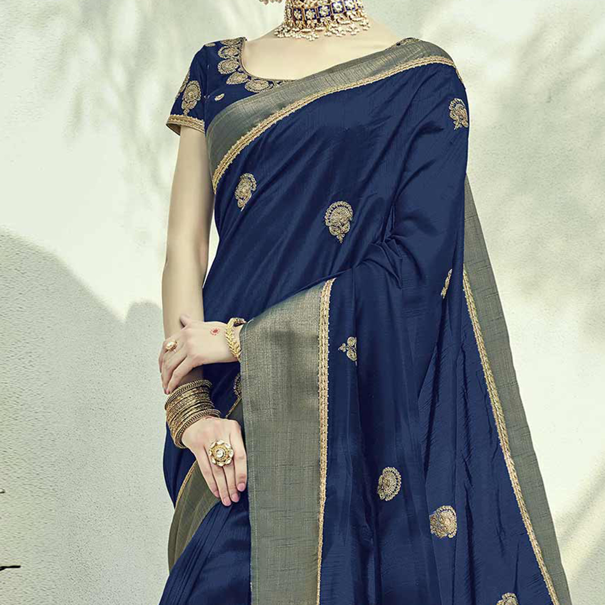 Stupendous Navy Blue Colored Embroidered Partywear Dual Tone Silk Saree