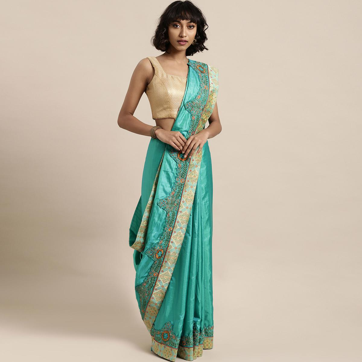 Indian Women Green Colored Poly Silk Embroidered Heavy Work Saree