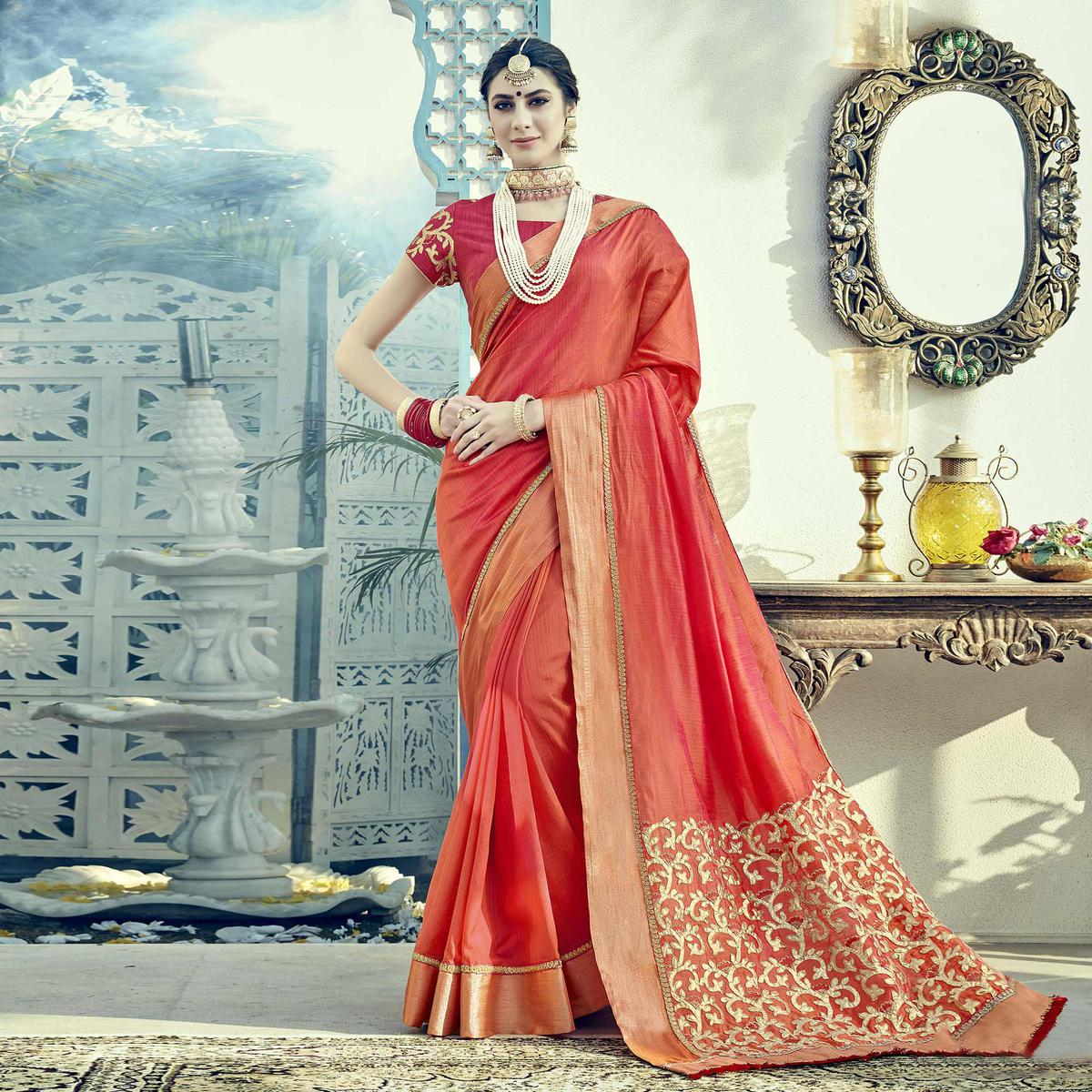 Stunning Peach Colored Embroidered Partywear Dual Tone Silk Saree