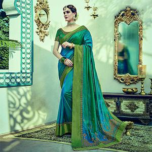 Eye-Catching Teal Colored Embroidered Partywear Dual Tone Silk Saree