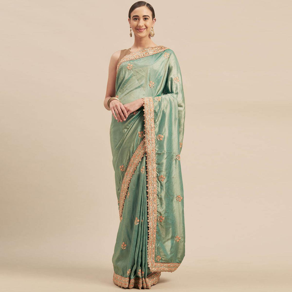 Indian Women Green Colored Poly Silk Heavy Embroidered Work Designer Saree