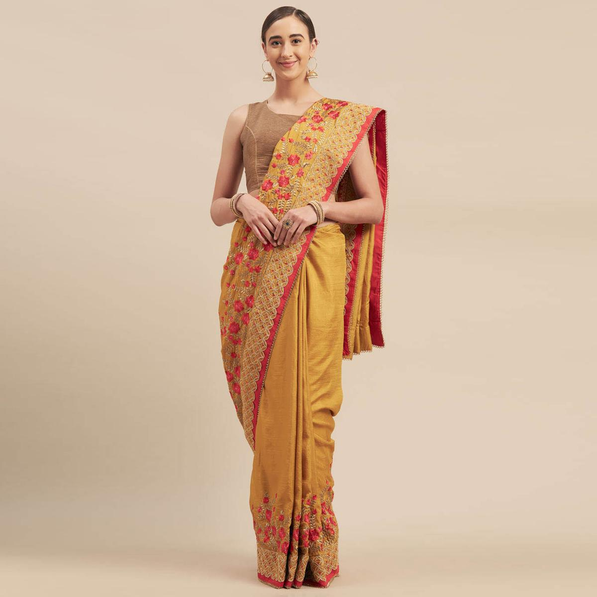 Indian Women Yellow Colored Poly Silk Heavy Embroidered Work Designer Saree