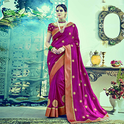 Mesmerising Pink Colored Embroidered Partywear Dual Tone Silk Saree