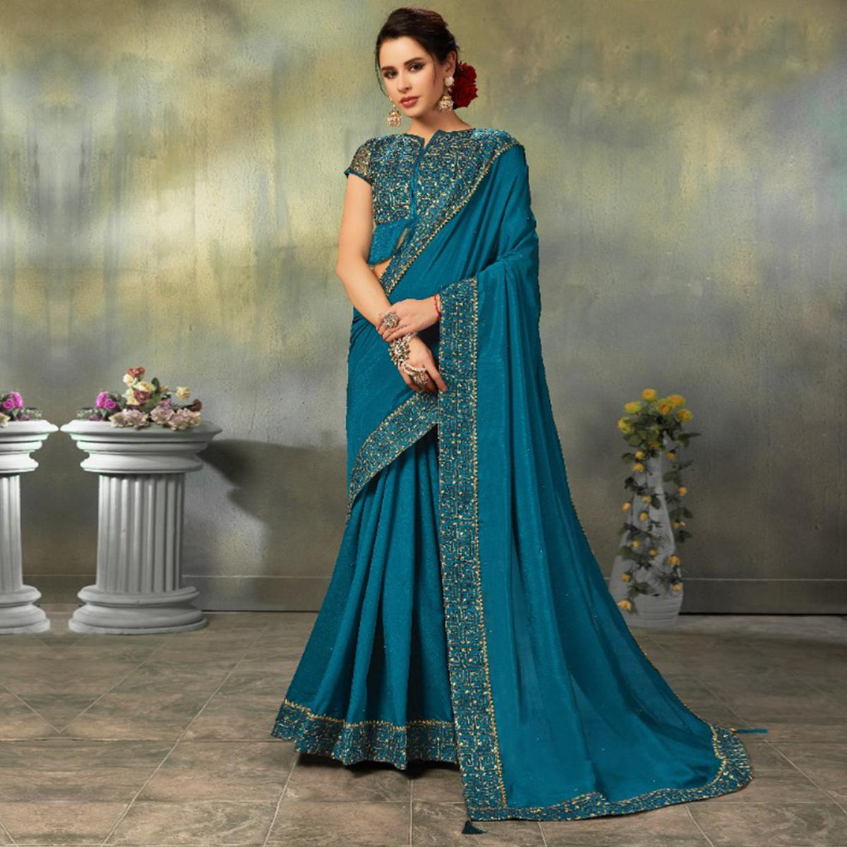 Indian Women Teal Blue Colored Two Tone Silk Embroidered Border Fancy Designer Saree