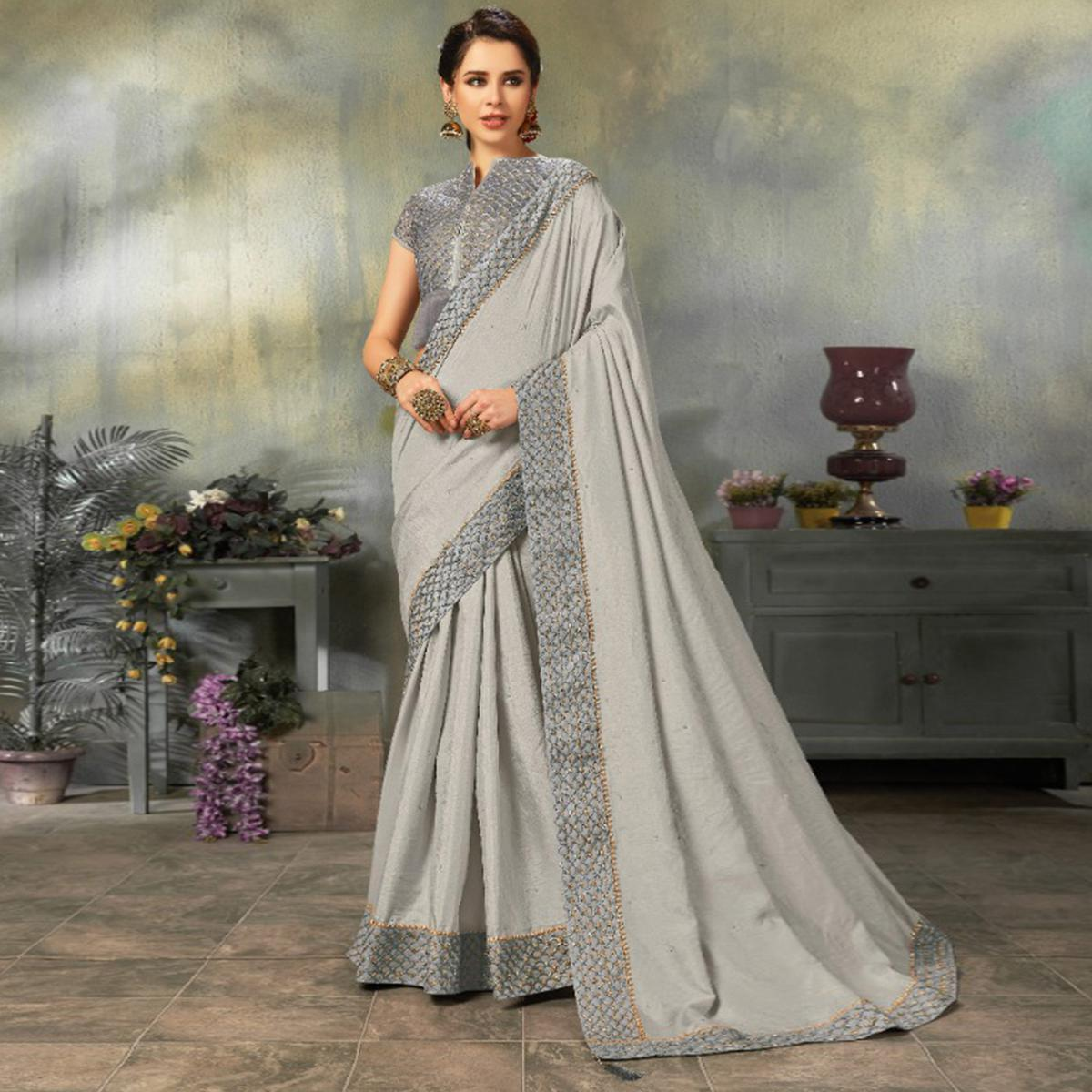 Indian Women Grey Colored Two Tone Silk Embroidered Border Fancy Designer Saree