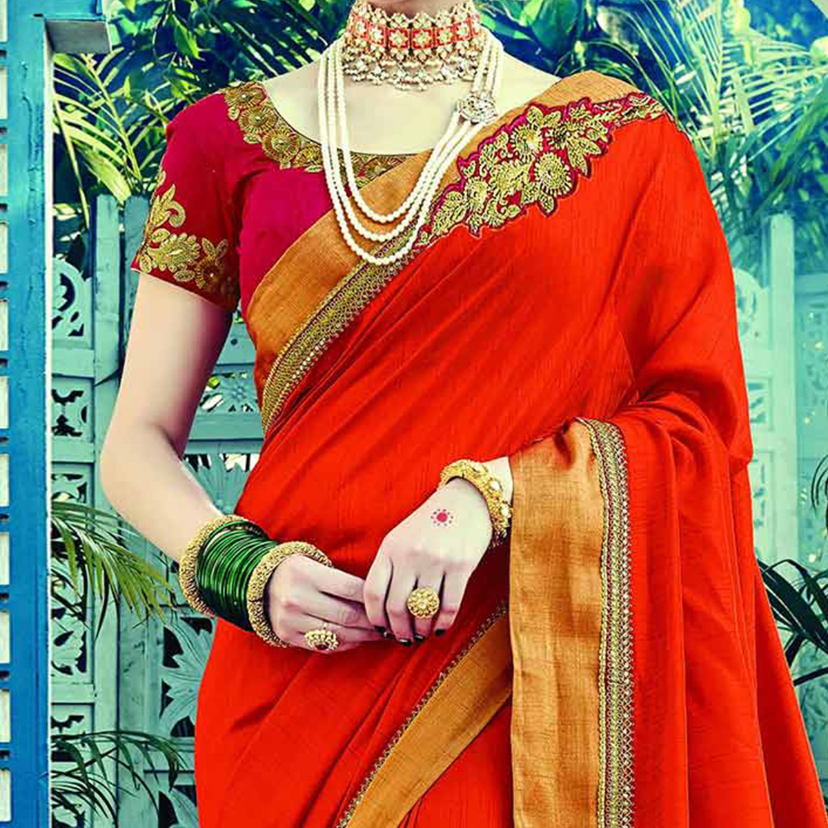 Traditional Orange Colored Embroidered Partywear Dual Tone Silk Saree