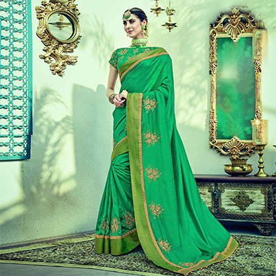 Gorgeous Green Colored Embroidered Partywear Dual Tone Silk Saree