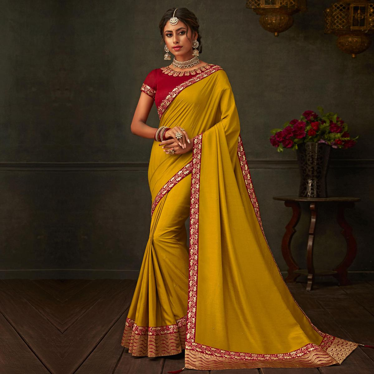 Indian Women Mustard Colored Poly Silk Embroidered Heavy Work Designer Saree