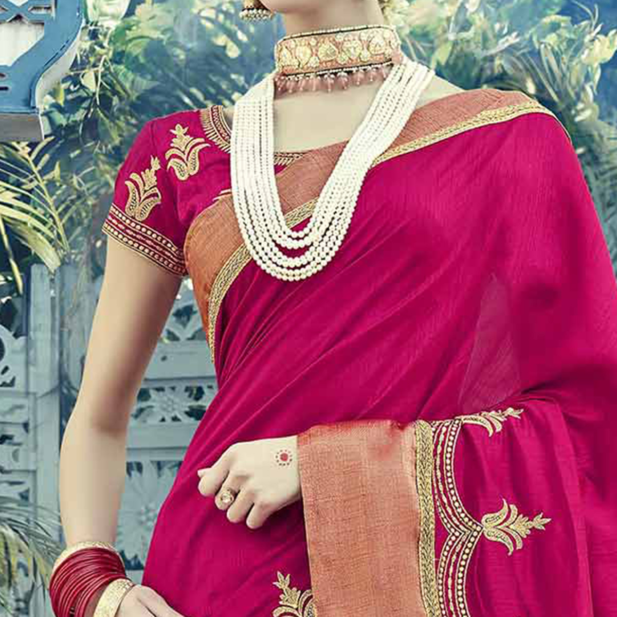 Pretty Pink Colored Embroidered Partywear Dual Tone Silk Saree