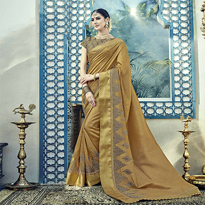 Royal Beige Colored Embroidered Partywear Dual Tone Silk Saree