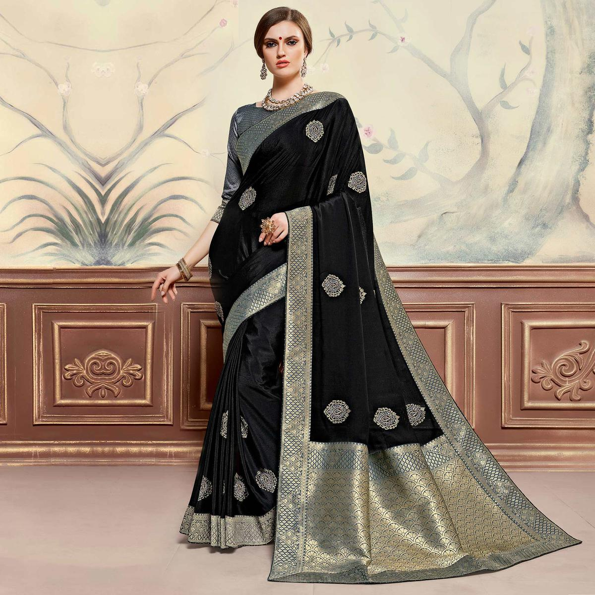 Indian Women Black Colored Poly Silk Heavy Embroidered Work Fancy Designer Saree