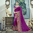 Flaunt Magenta Colored Embroidered Partywear Dual Tone Silk Saree