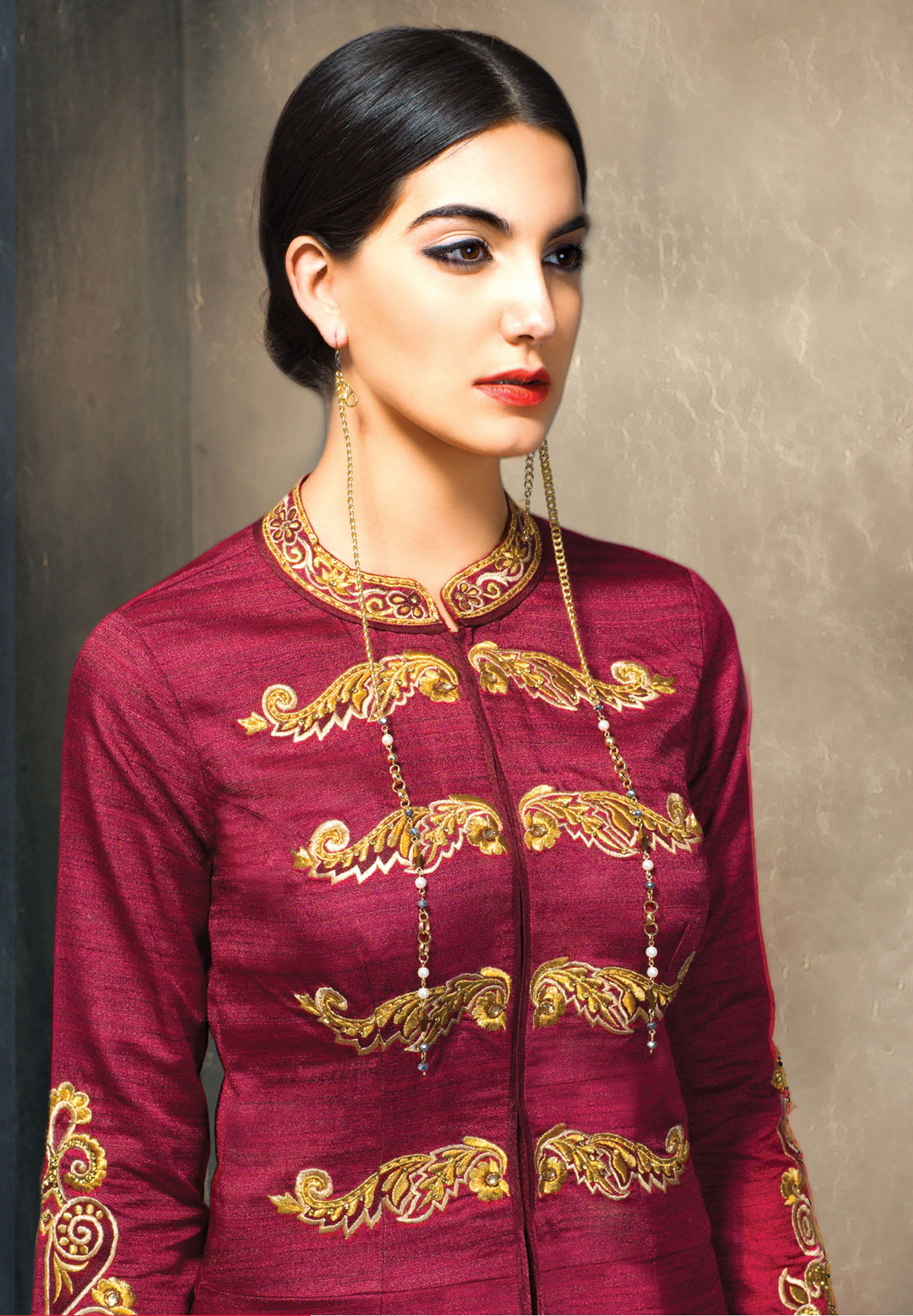 Blooming Pink Colored Partywear Embroidered Designer Art Silk Suit