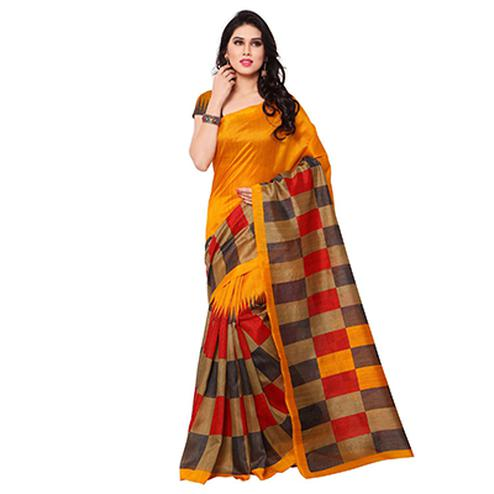 Orange Casual Wear Printed Saree