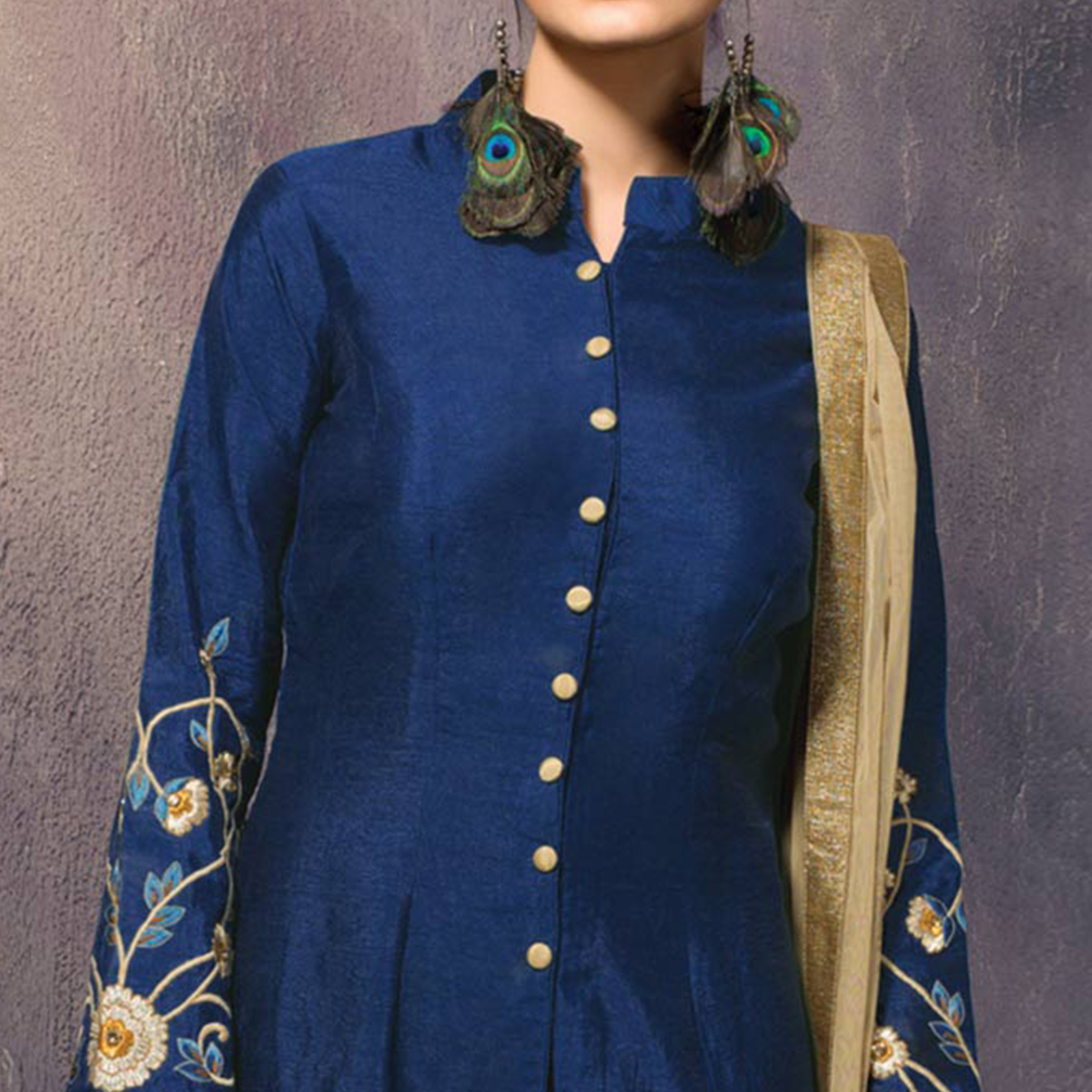 Dizzling Blue Colored Partywear Embroidered Designer Art Silk Suit