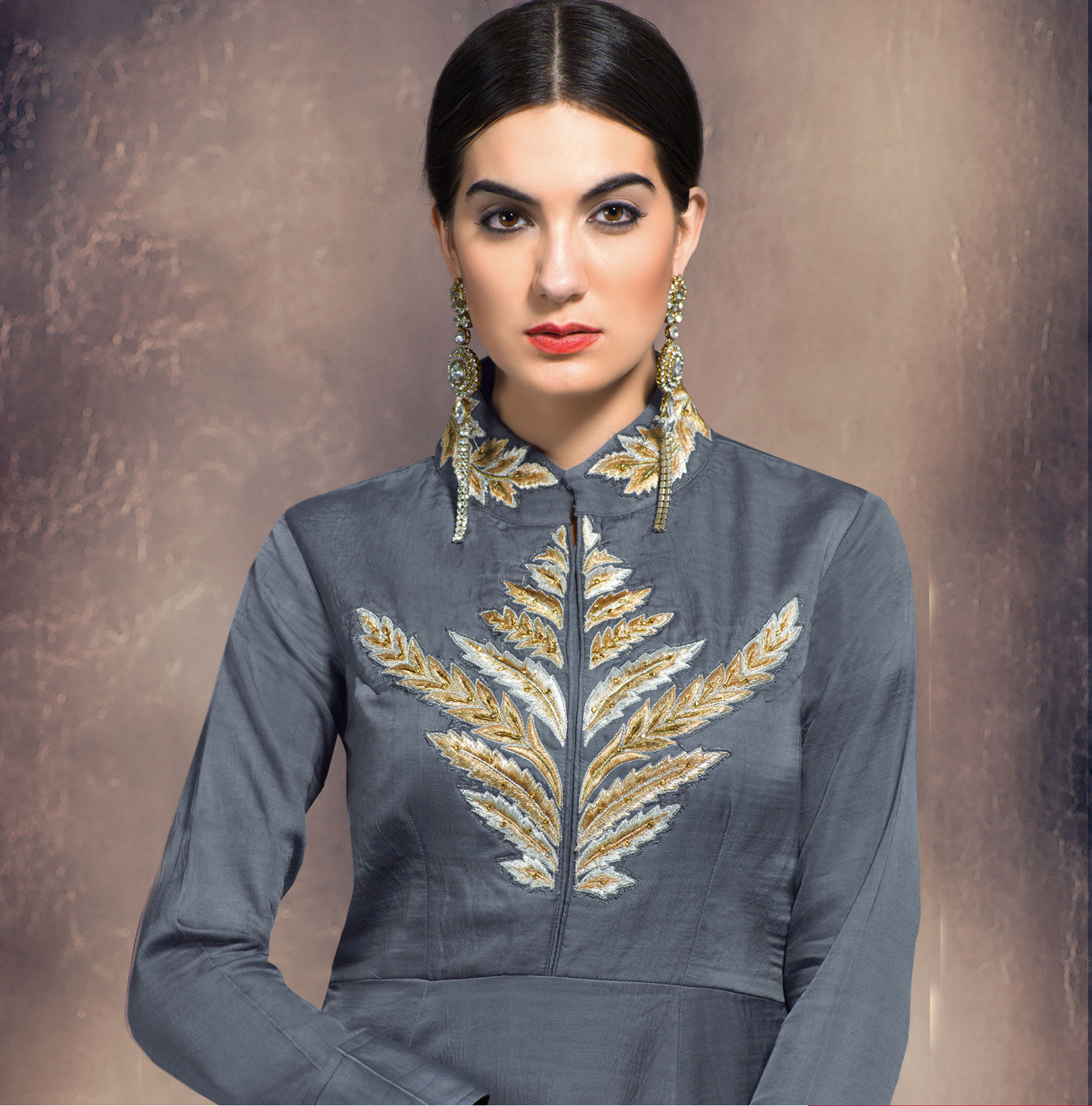 Attractive Grey Colored Partywear Embroidered Designer Art Silk Suit