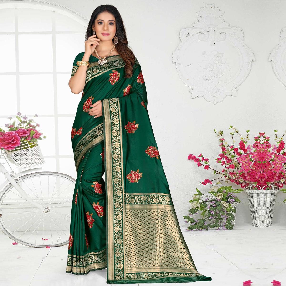 Indian Women Green Colored Poly Silk Embroidered With Jacquard Border Designer Saree