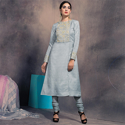 Trendy Grey Colored Partywear Embroidered Designer Art Silk Suit