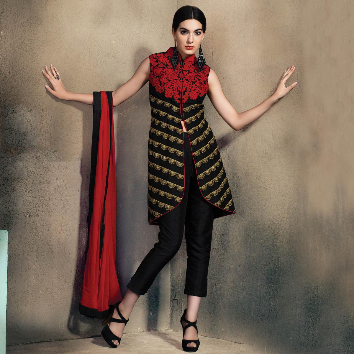 Mesmerising Black Colored Partywear Embroidered Designer Art Silk Suit