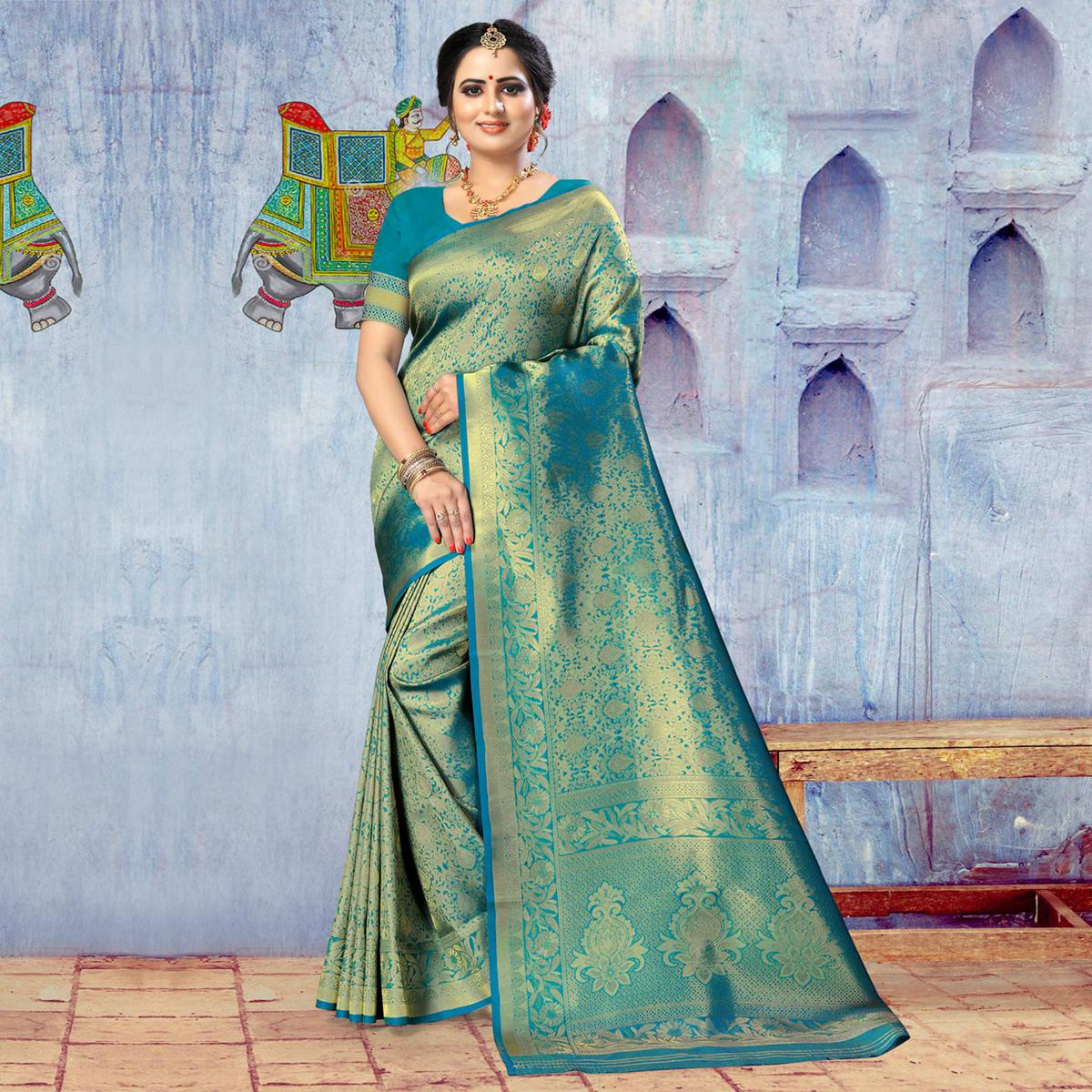 Indian Women Green Colored Poly Silk Jacquard Work Heavy Work Saree