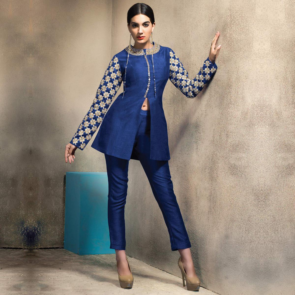 Stylish Blue Colored Partywear Embroidered Designer Art Silk Suit