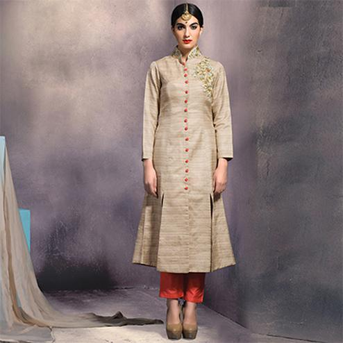 Graceful Beige Colored Partywear Embroidered Designer Art Silk Suit