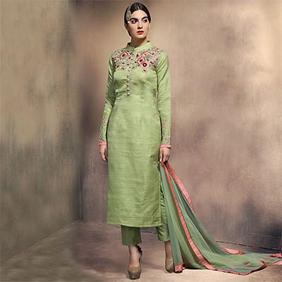 Amazing Green Colored Partywear Embroidered Designer Art Silk Suit