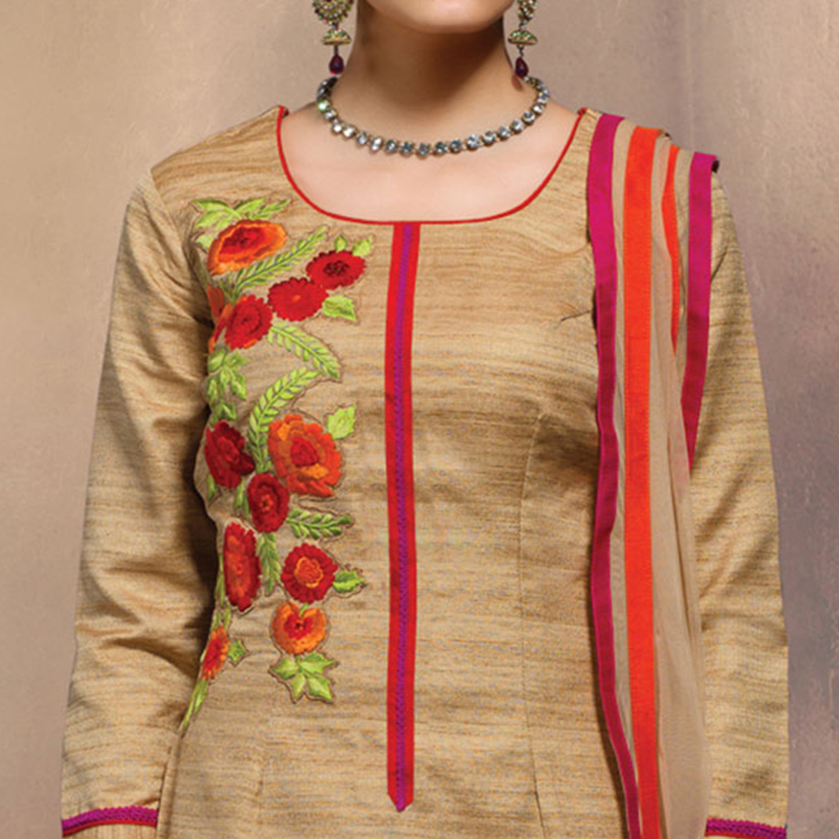 Marvellous Beige Colored Partywear Embroidered Designer Art Silk Suit