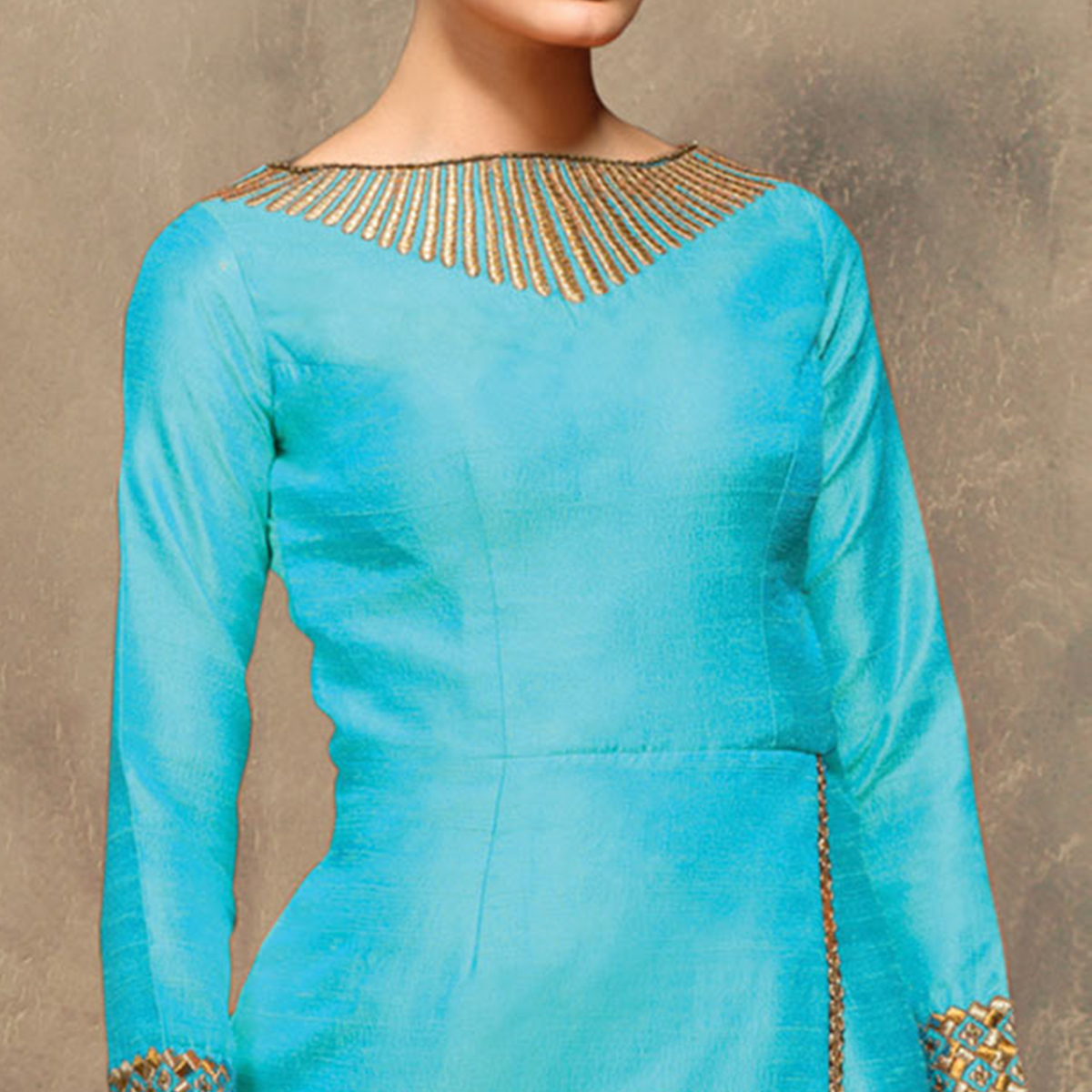 Elegant Sky Blue Colored Partywear Embroidered Designer Art Silk Suit