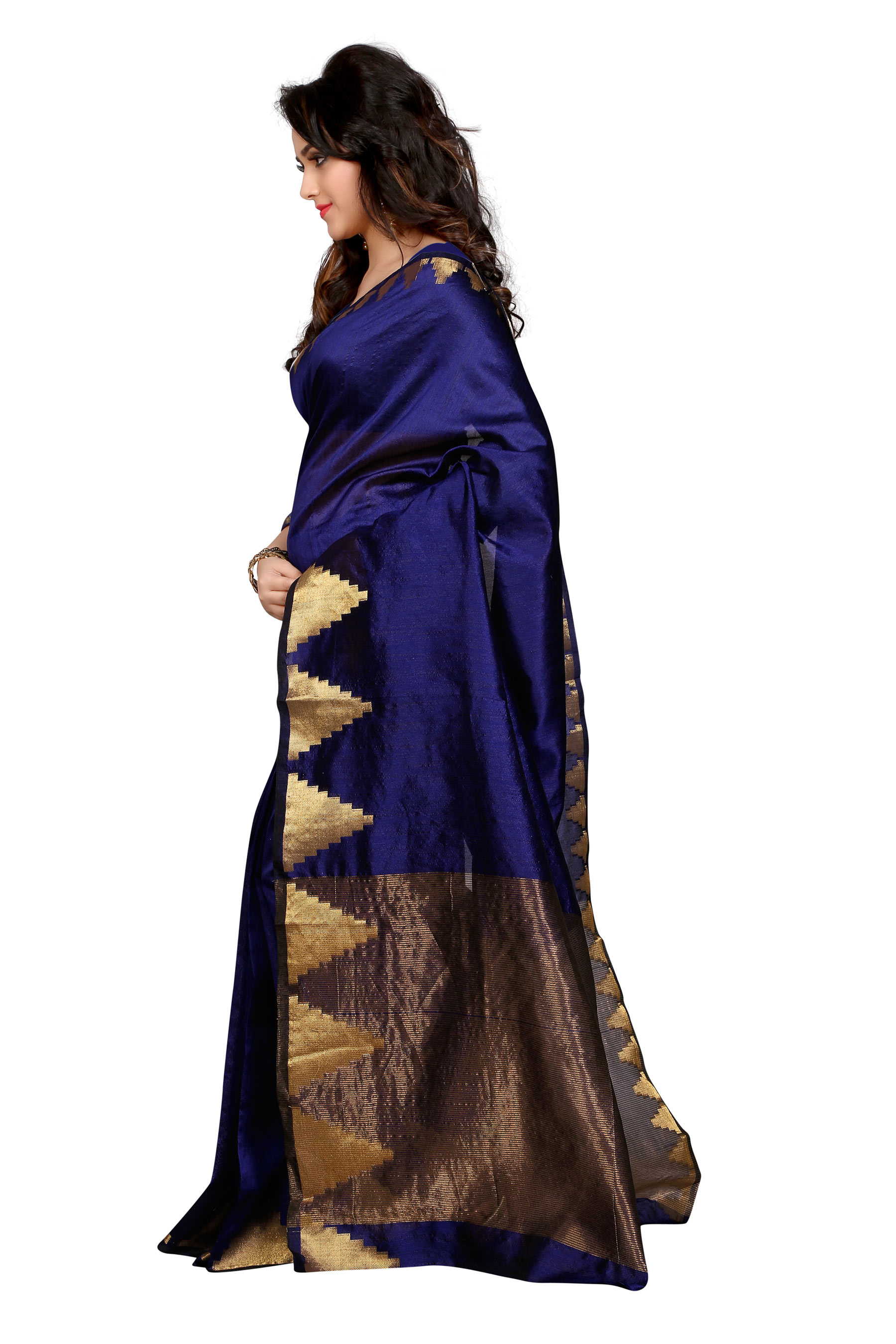 Blue Art Silk Woven Saree